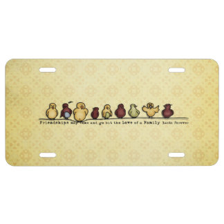 Birds on wire yellow background family quote license plate