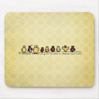 Birds on wire yellow background family quote mouse pad