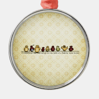 Birds on wire yellow background family quote christmas tree ornament