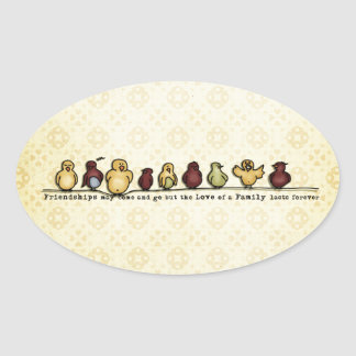 Birds on wire yellow background family quote oval sticker