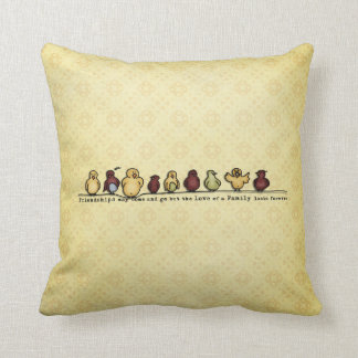 Birds on wire yellow background family quote pillow