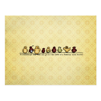 Birds on wire yellow background family quote postcard