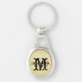 Birds on wire yellow background family quote Silver-Colored oval metal keychain