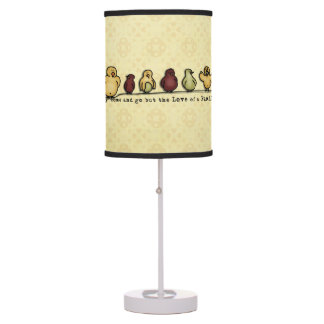 Birds on wire yellow background family quote table lamp
