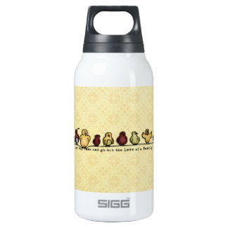 Birds on wire yellow background family quote thermos bottle