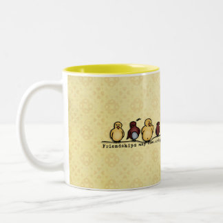Birds on wire yellow background family quote Two-Tone coffee mug