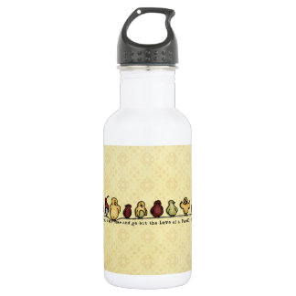Birds on wire yellow background family quote water bottle