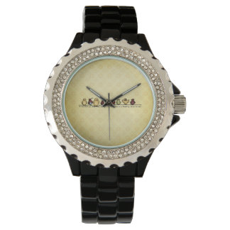 Birds on wire yellow background family quote wrist watch