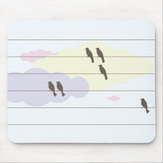 Birds on wires mousepads