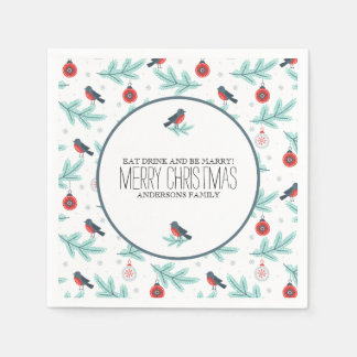 Birds & Ornaments Colorful Christmas Pattern Paper Napkin