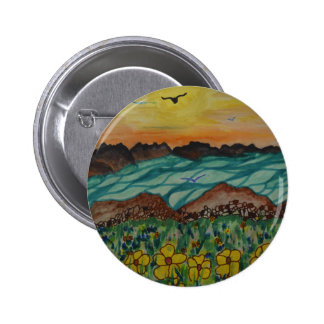Birds over floral meadow pinback button
