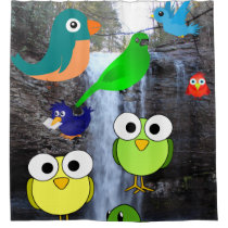 birds owls waterfall children's shower curtain
