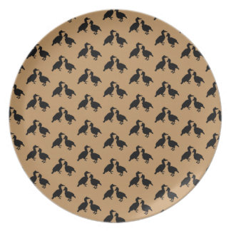 Birds Pattern, Black and Brown. Dinner Plates