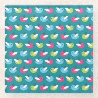 Birds pattern Blue Glass Coaster