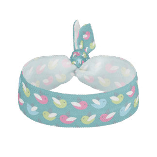 Birds pattern Blue Ribbon Hair Tie