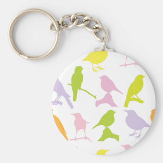 BIRDS PATTERN, COORFUL BIRD SILHOUETTES DESIGN KEYCHAIN