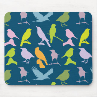 BIRDS PATTERN, COORFUL BIRD SILHOUETTES DESIGN MOUSE PAD