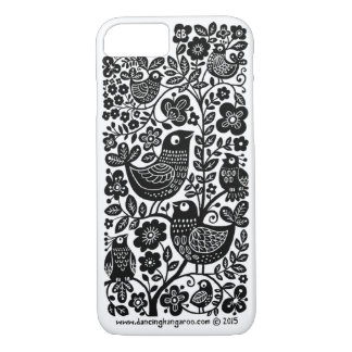 Birds Pattern iPhone 7 Case - Black and white