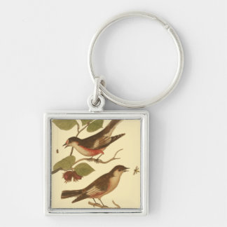 Birds Perched on Branches Eating Insects Keychain
