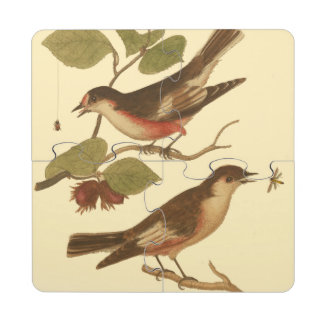 Birds Perched on Branches Eating Insects Puzzle Coaster