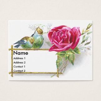 Birds & Pink Rose Victorian Trade Card