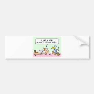 birds psychiatrist unhappy egghood childhood bumper sticker