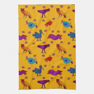 Birds - Purple Hawks & Blue Chickens Hand Towels