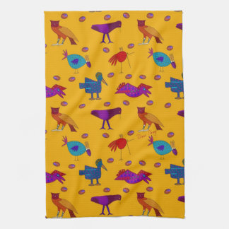 Birds - Purple Hawks & Blue Chickens Kitchen Towel