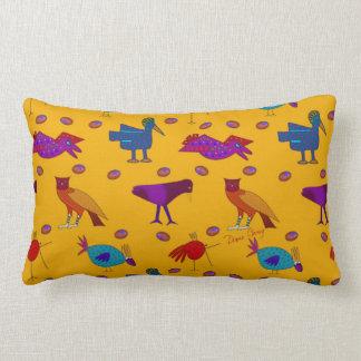 Birds - Purple Hawks & Blue Chickens Throw Pillows