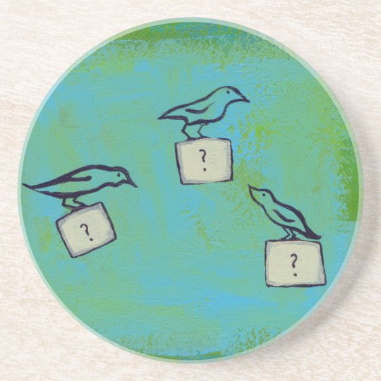 Birds question marks colorful art Orderly Universe Coaster