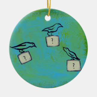 Birds question marks colorful art Orderly Universe Double-Sided Ceramic Round Christmas Ornament