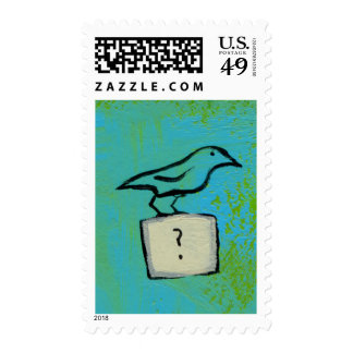 Birds question marks colorful art Orderly Universe Stamp