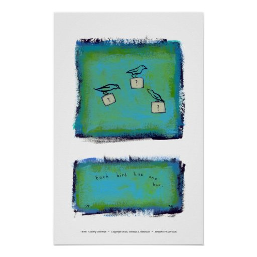 Birds question marks colorful art Orderly Universe Poster