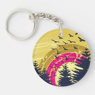 Birds & Rainbow In The Golden Sky Acrylic Key Chains