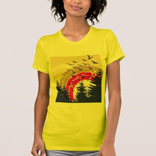 Birds & Rainbow In The Golden Sky T Shirt