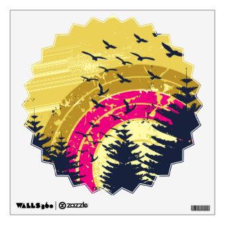 Birds & Rainbow In The Golden Sky Room Stickers