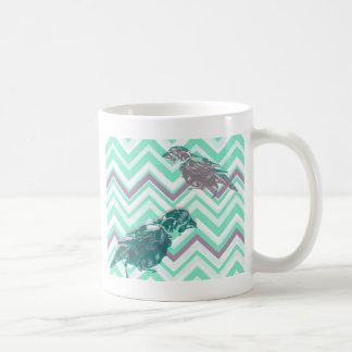 Birds screen printed on geometrical bottom coffee mug