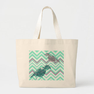 Birds screen printed on geometrical bottom large tote bag