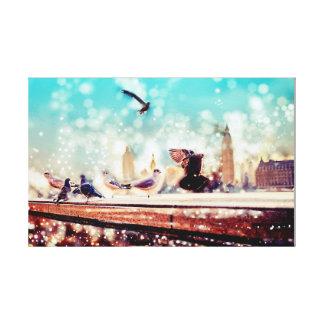 Birds, sea gulls - River thames view, London Canvas Print