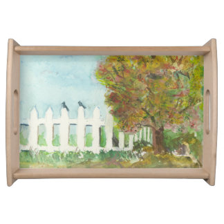 Birds Shelter in an Autumn Tree (Watercolor) Service Tray