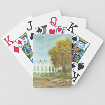 Birds Shelter in an Autumn Tree (Watercolor) Poker Cards