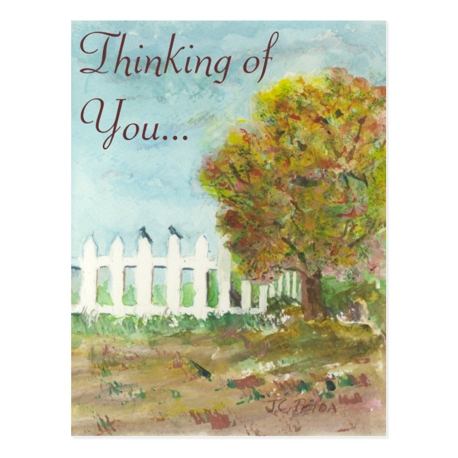 Birds Shelter in an Autumn Tree (Watercolor) Postcard