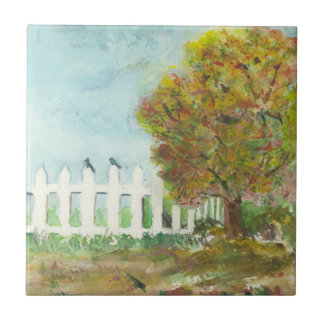Birds Shelter in an Autumn Tree (Watercolor) Ceramic Tile