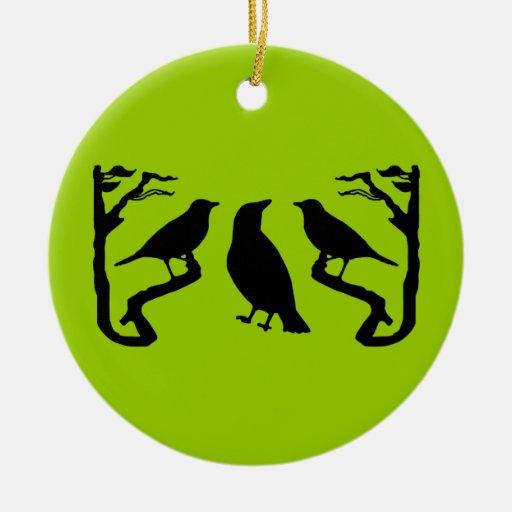 Birds Silhouette Ceramic Ornament