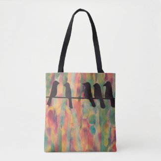 Birds Silhouette Colorful Tote Bag