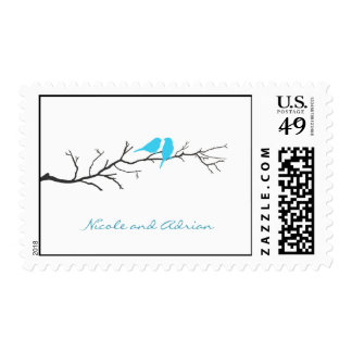 Birds Silhouettes Custom Postage Stamp - Turquoise