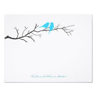 """Birds Silhouettes Thank You Cards - Turquoise - 4.25"""" X 5.5"""" Invitation Card"""