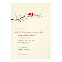 Birds Silhouettes Wedding Invitation - Red -