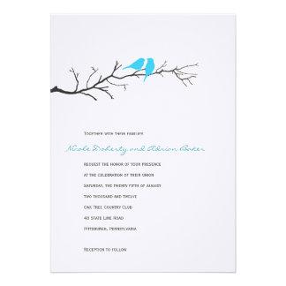 Birds Silhouettes Wedding Invitation - Turquoise - Invitation