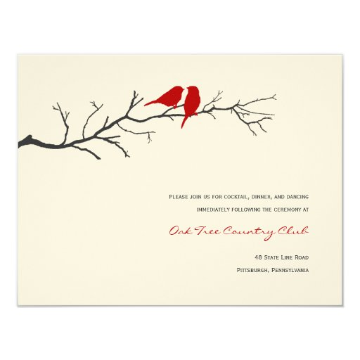 Birds Silhouettes Wedding Reception Cards - Red -
